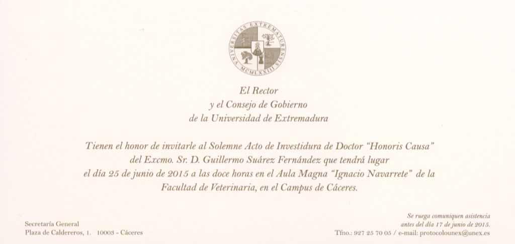 El Profesor Dr. D. Guillermo Suárez recibirá el Doctorado Honoris causa por la Universidad de Extremadura
