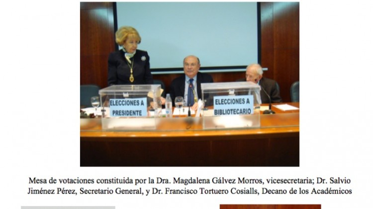 ELECCIONES A PRESIDENTE Y BIBLIOTECARIO DE LA REAL ACADEMIA DE CIENCIAS VETERINARIAS DE ESPAÑA (RACVE)