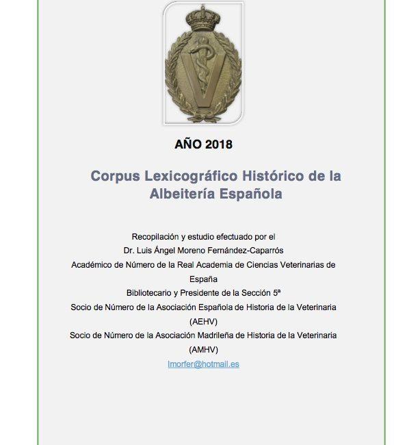 «Corpus Lexicográfico Histórico de la Albeitería Española» NUEVA ACTUALIZACIÓN