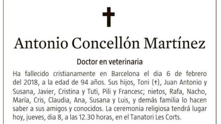 Fallece el Excmo. Sr. Dr. D. Antonio Concellón Martínez, Académico Supernumerario