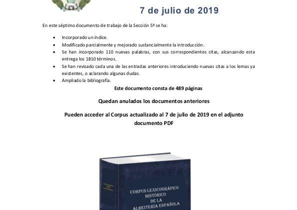 «Corpus Lexicográfico Histórico de la Albeitería Española» NUEVA ACTUALIZACIÓN-2019