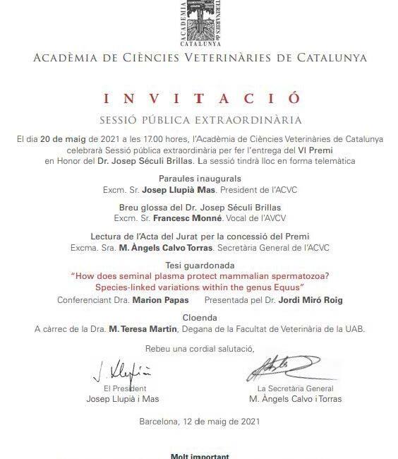 Sesión Academia de Ciències Veterinàries de Catalunta 20-05-2021